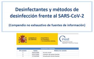 Desinfectantes y métodos de desinfección frente al SARS-CoV-2